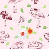 与birds_-05的无缝的背景 免版税库存照片
