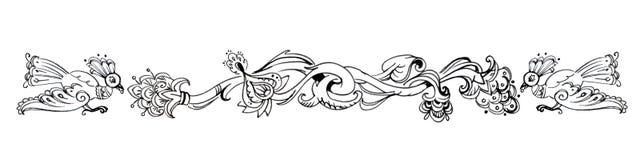 与birdsand花的装饰图表寓言装饰品 免版税库存图片