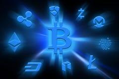 与bitcoin标志的一个图象 库存图片