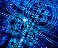 与bitcoin标志的抽象背景 免版税库存照片