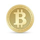 与Bitcoin标志的数字式Bitcoin金黄硬币在电子环境里铸造ryptocurrency物理色的bitcoin 库存图片
