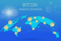 与Bitcoin标志的数字式Bitcoin金黄硬币在电子环境里铸造ryptocurrency物理色的bitcoin 库存照片