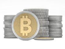 与Bitcoin标志的金黄硬币 数字式货币 3d 库存照片