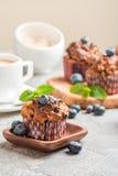 与blueberrie的红萝卜松饼 免版税图库摄影