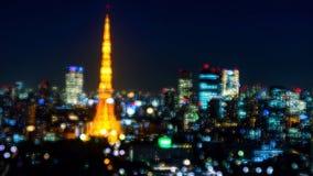 与bokeh光的东京塔 库存照片