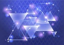 与bokeh和火光的抽象三角背景 也corel凹道例证向量 免版税库存图片