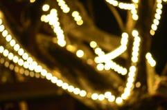 与bokeh defocused光的抽象背景- defocused光的图象在树的 免版税库存图片