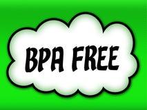与BPA的可笑的样式云彩释放在鲜绿色的背景的文字 免版税库存图片