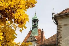与bri包围的Schönborn宫殿的响铃的一个塔 免版税图库摄影