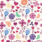 与butterf的逗人喜爱的五颜六色的花卉无缝的样式 免版税库存照片