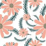 与camomiles花的明亮的夏天背景 无缝花卉的模式 也corel凹道例证向量 库存例证