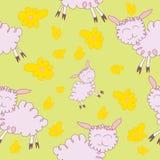 与cartoony绵羊的无缝的样式 皇族释放例证