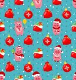 与Cartton猪的无缝的样式,圣诞节袋子,球,提出 向量例证