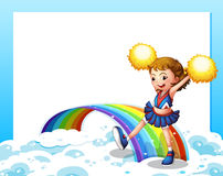 与cheerer和彩虹的一块空的模板 库存照片