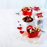 与chia、格兰诺拉麦片、酸奶和莓果的浪漫早餐在老白色具体背景 概念饮食健康 免版税图库摄影