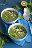 与chia的绿色圆滑的人碗菠菜猕猴桃蓝莓石灰香蕉 免版税图库摄影