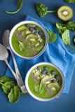 与chia的绿色圆滑的人碗菠菜猕猴桃蓝莓石灰香蕉 免版税库存图片
