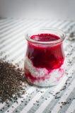 与chia种子的有用的酸奶圆滑的人 库存照片