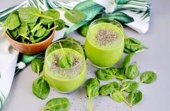 与chia种子,健康食物概念,戒毒所的绿色菠菜圆滑的人 免版税库存照片