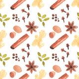 与cinamon,姜的无缝的水彩样式 免版税库存照片