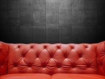 与Copyspace的段皮革沙发室内装饰品 免版税库存图片