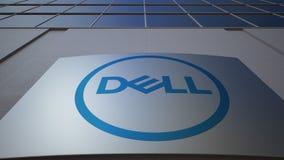 与Dell公司的室外标志板 徽标 编译的现代办公室 社论3D翻译 股票视频