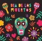 与Dia De Los Muertos的假日装饰构成在上写字,墨西哥calavera或者头骨、花和maracas 库存例证