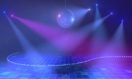 与discoball的被点燃的阶段 免版税库存图片