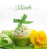 与doffodils和装饰的美丽的绿色和黄色春天题材杯形蛋糕3月 免版税库存图片