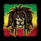 与Dreadlocks的Rastafarian狮子 库存照片