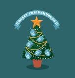 与dreidels的快活的Christmukkah (圣诞节和光明节)树