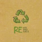 与Eco标志的被回收的纸 免版税图库摄影