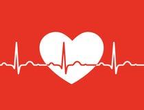 与ekg标志的白色心脏在红色背景-医疗设计 图库摄影