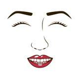 与eyesclosed的妇女面孔和微笑 免版税库存图片
