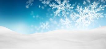 与Fa的抽象天蓝色的蓝色背景全景冬天风景 免版税库存图片