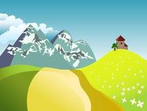 与filds、教会、树和山的夏天风景在与云彩的蓝天 库存图片