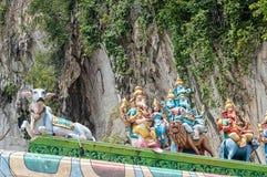 与Ganesha的印度神雕象在巴图在吉隆坡马来西亚附近陷下 免版税库存照片