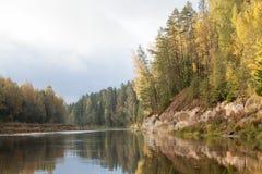 与Gauja河和白色砂岩的平安的风景露头 免版税库存照片