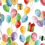 与giftboxes和明亮的空气轻快优雅的水彩样式 与五颜六色的气球和礼物的手画例证 图库摄影