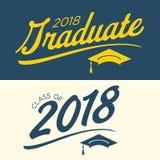 2018与Gradu的毕业生向量图形蓝色和黄色类  皇族释放例证