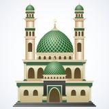 与Green Dome的伊斯兰教的清真寺在白色背景隔绝的大厦和两塔 免版税库存图片