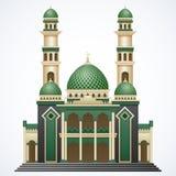 与Green Dome的伊斯兰教的清真寺在白色背景隔绝的大厦和两塔 图库摄影