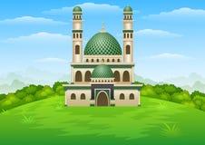 与Green Dome的伊斯兰教的清真寺大厦小山的 库存图片