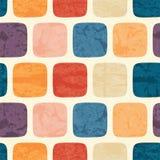 与grunged五颜六色的正方形的抽象无缝的样式 免版税库存图片
