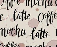 与handlettering的咖啡传染媒介褐色被弄脏的纹理 皇族释放例证