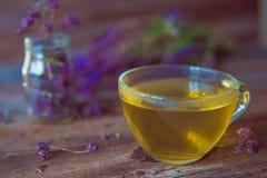 与herbals的绿茶 茶用在木backgroun的牛至 图库摄影