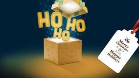 与ho ho ho气球的圣诞节礼物 免版税库存图片