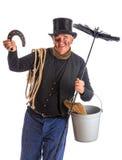 与horsehoe的查出的扫烟囱的人 免版税库存照片