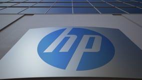 与HP公司的室外标志板 徽标 编译的现代办公室 社论3D翻译 股票录像