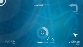 与HUD设计和POI背景的蓝色地图 库存照片